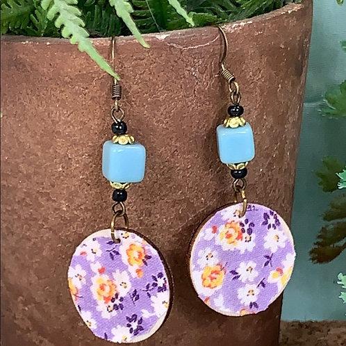 Lavender vintage fabric blue bead disc earrings