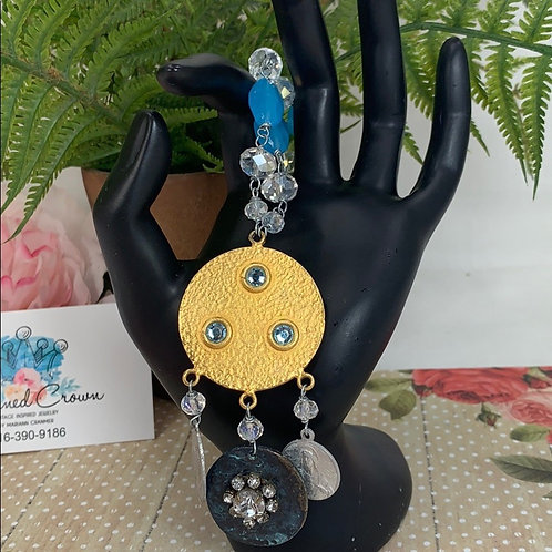 Blue Religious medal beaded necklace