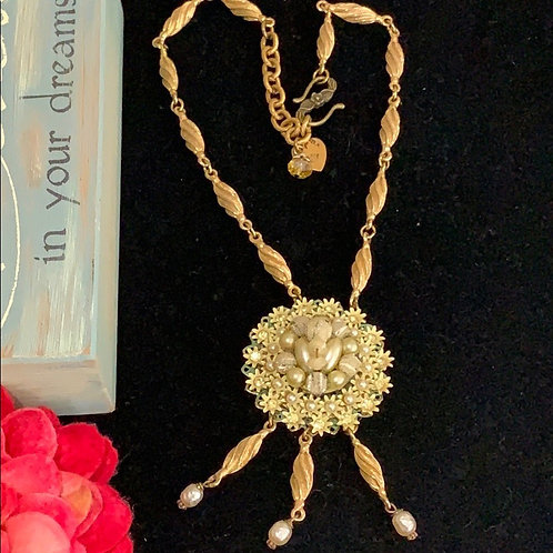 Yellow Vintage enamel daisy cluster necklace