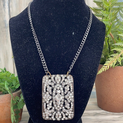 Adorned Crown rhinestone bold buckle necklace