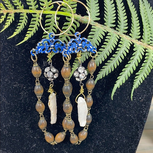 Feeling Blue assemblage rosary pearl earrings