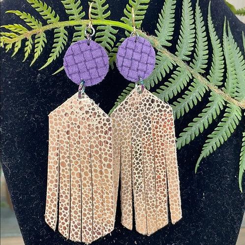 Purple Trendy leather statement earrings gold & purple