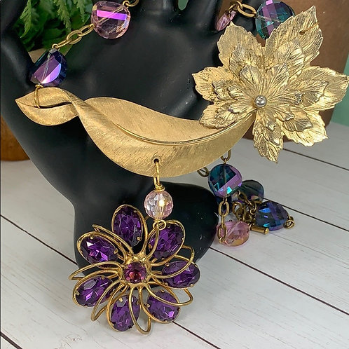 Purple Autumn amethyst leaf assemblage necklace