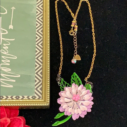 Dahlia purple pink enamel flower necklace