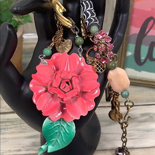 Favorite things enamel pink flower charm necklace