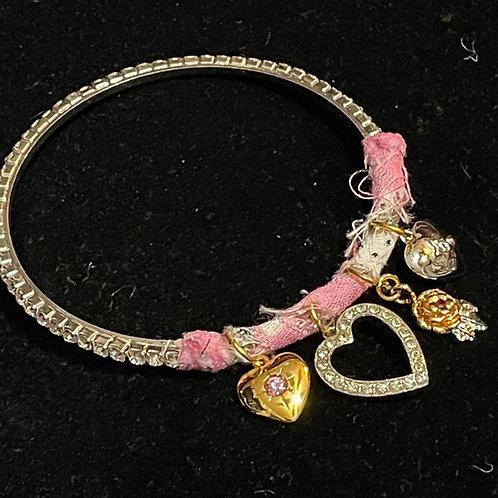 Pink Charmed I'm Sure rhinestone bangle with heart charm