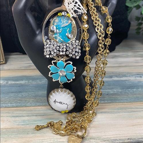 Blue Keep dreaming cameo rhinestone necklace
