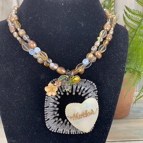 Yellow Special Mother assemblage heart necklace