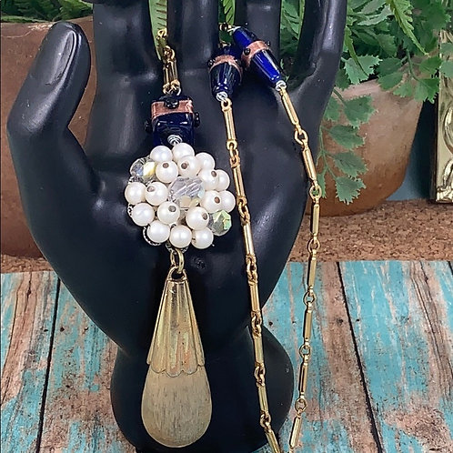 Drops of Gold blue cluster necklace