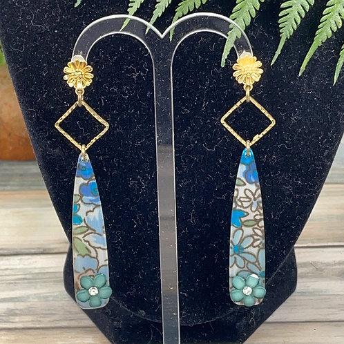 Blue Flower post acrylic spike earrings