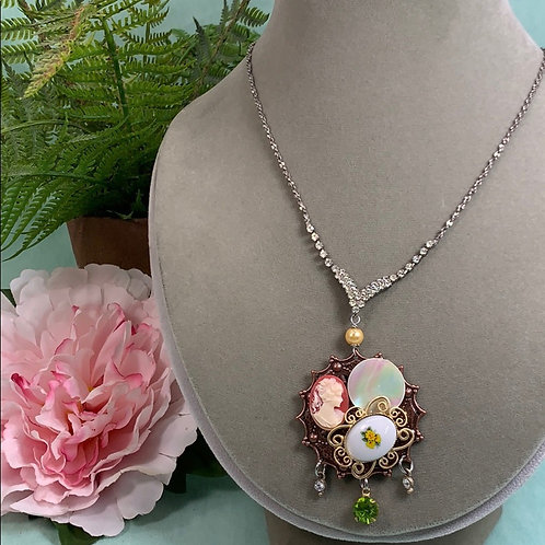 Orange Pretty little thing cameo floral rhinestone necklace