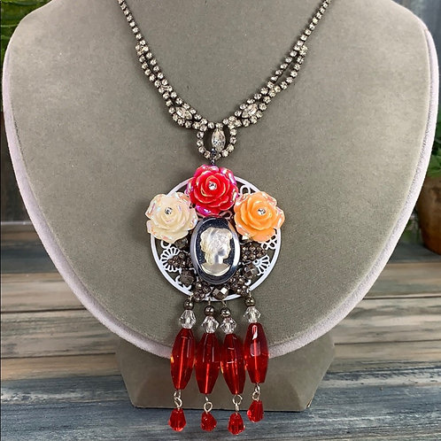 Red Fired up assemblage cameo crystal necklace