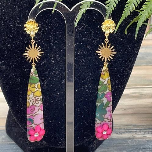 Pink acrylic flower burst earrings