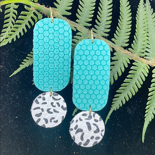 Teal Trendy leather statement earrings teal dot