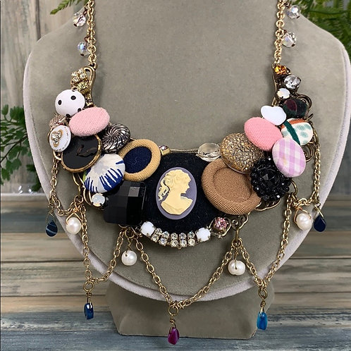 Pink Collage cameo button bib statement necklace
