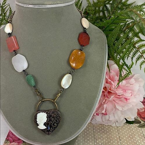 Orange Tucked in my Heart locket stone cameo necklace