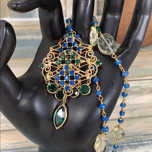 Art Deco green rhinestone drop necklace