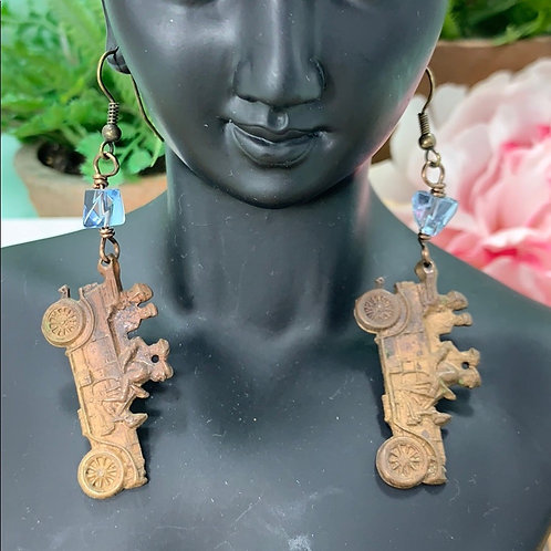Blue Vintage brass cars & bead earrings