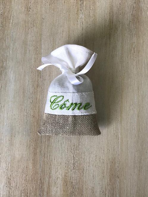 """2 lins"" base naturelle broderie vert ruban blanc"