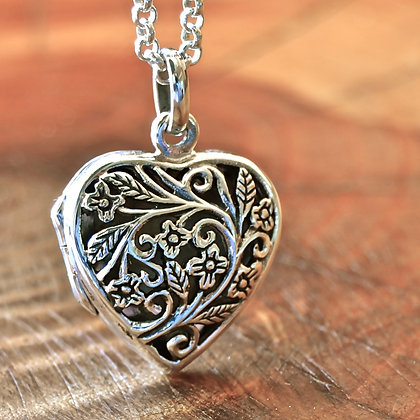 Heart Locket Filigree Flower
