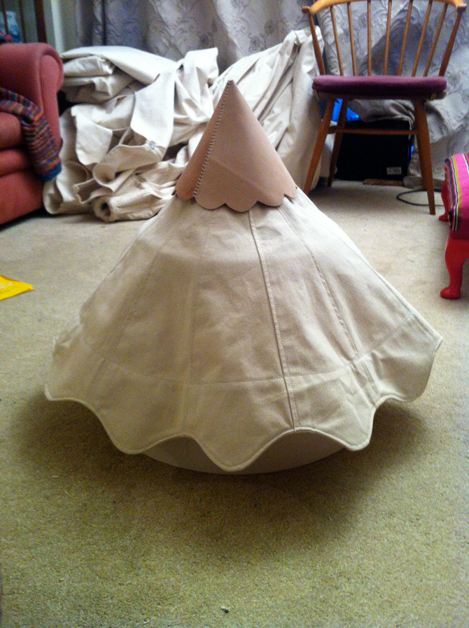 Cap and Cone Ready to Attach to the Top of the Roof.