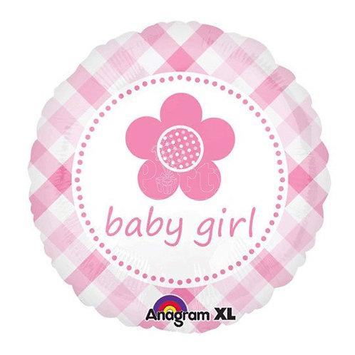 2F0003 baby girl 花花鋁紙氣球  baby girl Flower Foil Balloon
