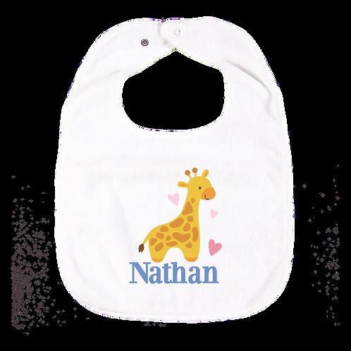 Giraffe Personalised Bib  長頸鹿繡名口水肩