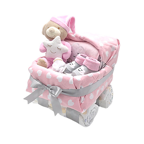 Pink Baby Buggy Diaper Cake