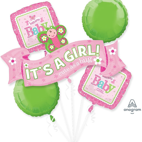 2FB0006 It's a Girl!  Foil Balloon Bouquet 主題鋁氣球束