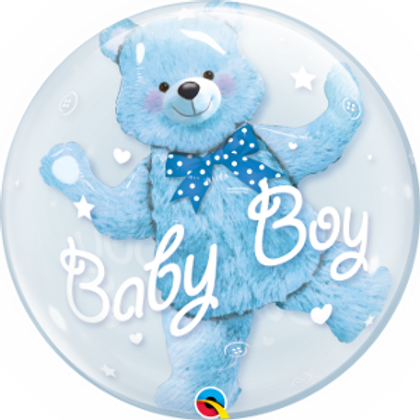 2C0032 Baby Boy 啤啤熊水晶氣球 Baby Boy Double Bubble Teddy Balloon