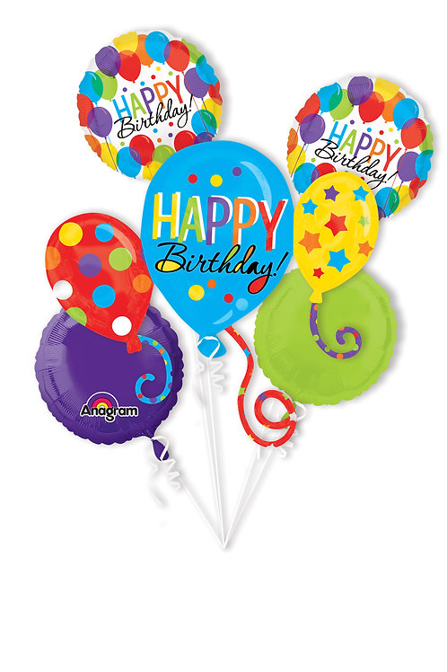 2FB0004 Happy Birthday Foil Balloon Bouquet 主題鋁氣球束