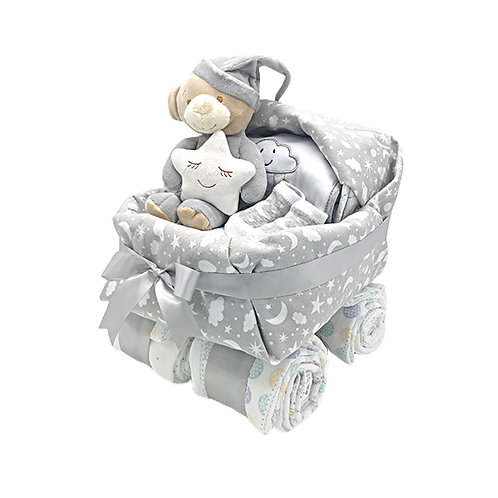 Baby Buggy Diaper Cake (Grey)