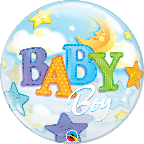 2C0100 Baby Boy 星星月亮鋁紙氣球 Baby Boy Moon & Stars Foil Balloon