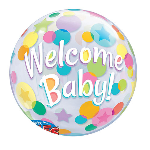 Welcome Baby Polka Dot Bubble Balloon 2C0031 Welcome Baby水晶氣球