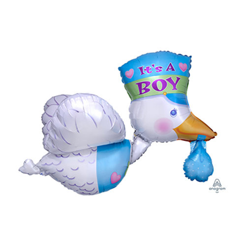 2F0091 送子鳥造型鋁紙汽球 Bundle of joy stork Boy Foil Balloon
