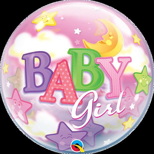 2C0101 Baby Girl 星星月亮鋁紙氣球 Baby Girl Moon & Stars Foil Balloon