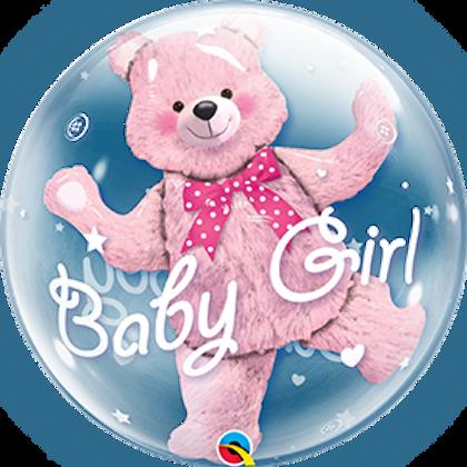 2C0033 Baby Girl 啤啤熊水晶氣球 Baby Girl Double Bubble Teddy Balloon