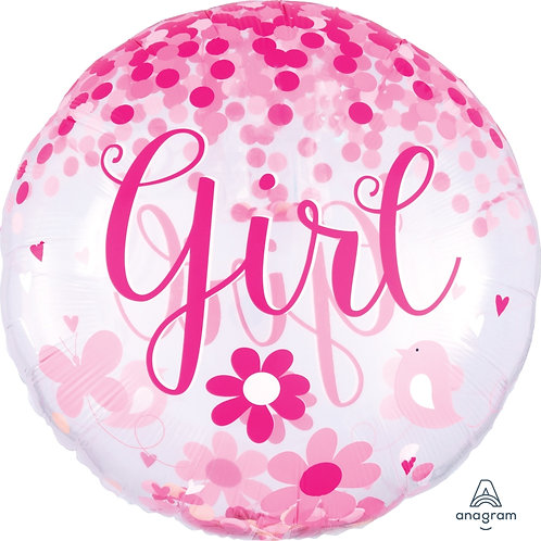 2C0084 Baby Girl 彩紙汽球 Baby Girl Confetti Balloon
