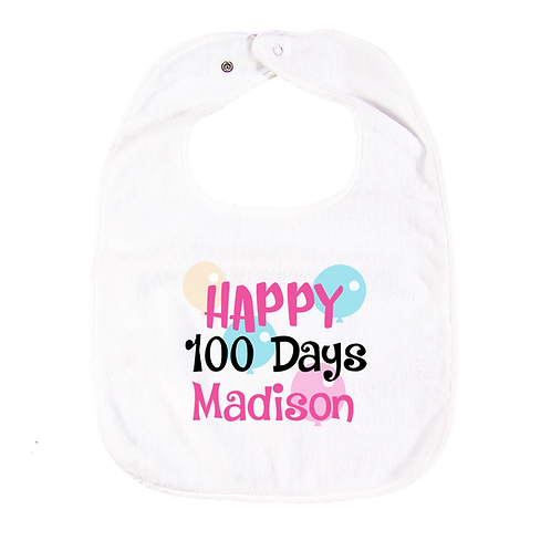Happy 100 Days Bib with Embroidered Name 快樂100日繡花口水肩