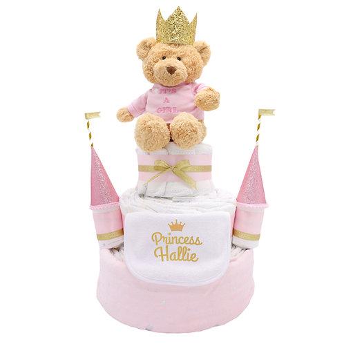 SD011 Pink Teddy Bear Castle Diaper Cake