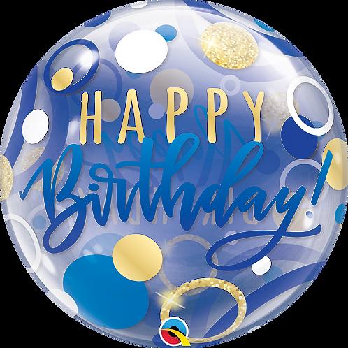 2C0105 Happy Birthday Blue Bubble Balloon 水晶氣球