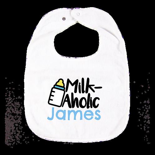 """Milk-aholic"" Personalised Bib 繡名口水肩"