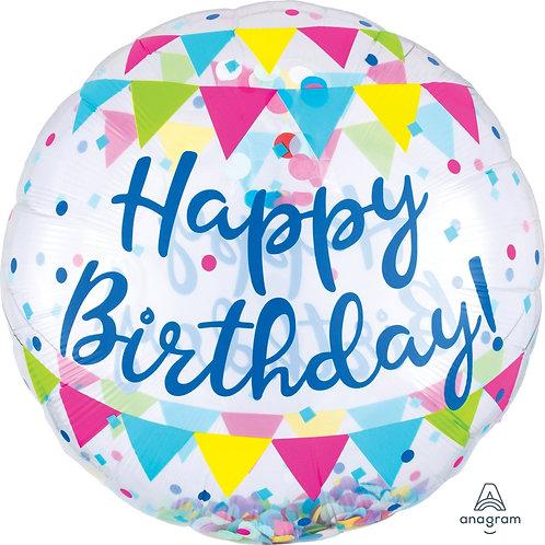 2C0082 生日快樂水晶汽球  Happy Birthday Streamer Fun Balloon