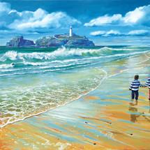 Boys on Cornwall Beach - SOLD