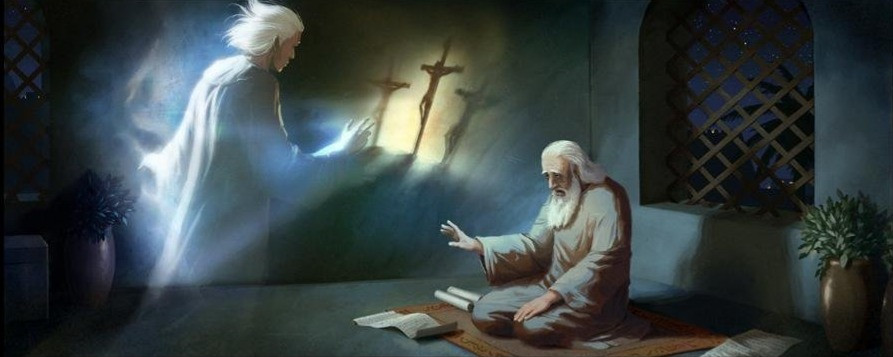 The scene represents the Angel Gabriel proclaiming the prophecy found in Daniel 9:24-26. Largely ignored over the centuries, this encrypted passage foretells the event of Christ's death, while appearing to pinpoint the day it would occur.