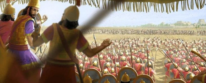 """The king of Babylon issues the order to attack Pharaoh's army positioned outside the walls of Tanis. History neglected to name Nebuchadnezzar's failed incursion into Egypt, so we refer to it as """"the Battle of Goshen"""" as it happens in the same region where the Pharaohs of Egypt kept the Israelites in bondage a thousand years earlier."""