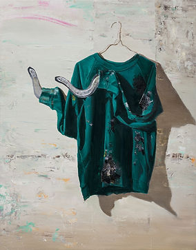 The painted t-shirt with two snakes, 201