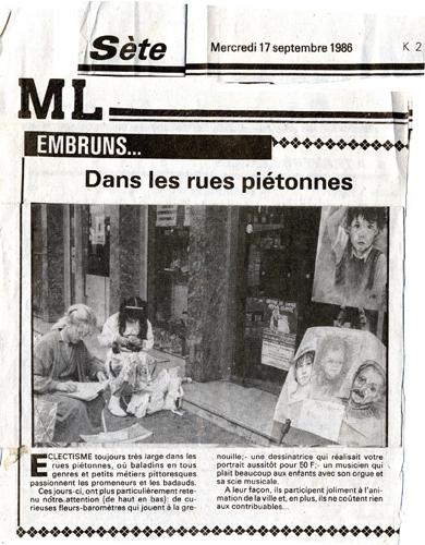 1986 Jounal portrait sur Sète