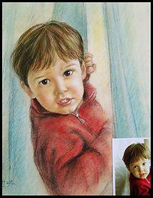 Portrait enfant - Dessin noir et blanc coloré au pastel - www.plazamargarita.com