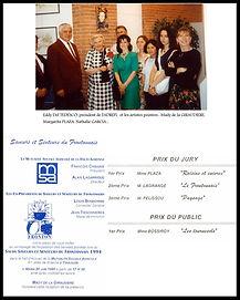 Vernissage expo des lauréats. photo : Eddy Del Tedesco, président de la Tiveneti, les artistes : Mady de la Giraudière, Margarita Plaza, Nathalie Garcia...